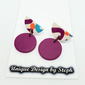 Handcrafted purple polymer clay dangle earrings